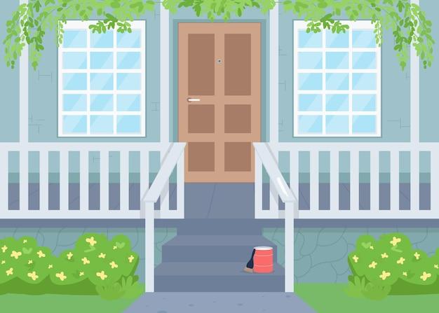 Buiten huis renovatie in de lente egale kleur illustratie