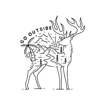 Buiten met dieren monoline design