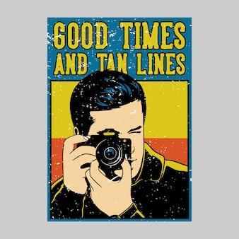 Buiten posterontwerp goede tijden en tan lijnen vintage illustratie