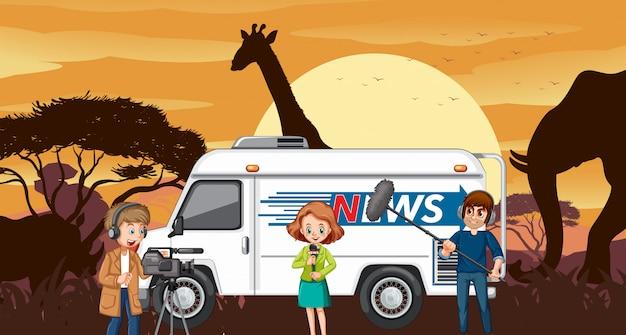 Buiten uitzending in savannewoestijn