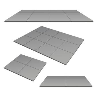 Buiten vierkante tegels grijze kleur, platform, sokkel.