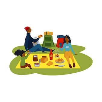 Buiten zomerpicknick van cartoon