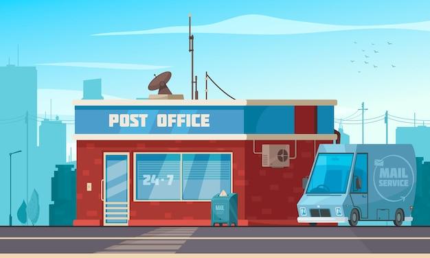 Buitenaanzicht van het postkantoorgebouw met busje brievenbus pakket verzamel service cartoon samenstelling