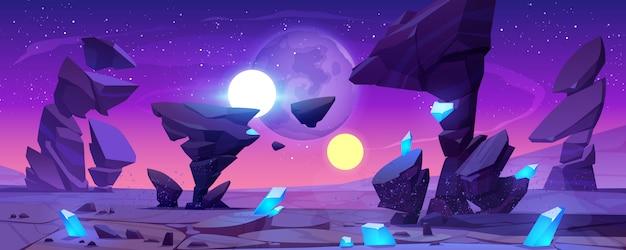 Buitenaards planeetlandschap 's nachts voor ruimtespel