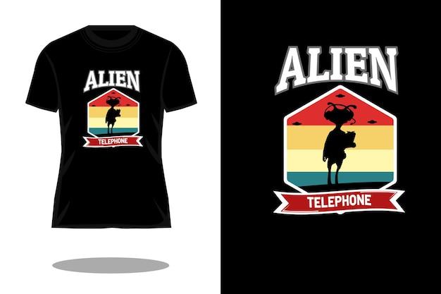 Buitenaards telefoon retro vintage t-shirtontwerp