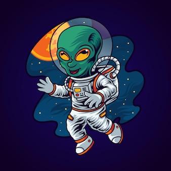 Buitenaardse astronaut in de ruimte