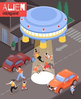 Buitenaardse invasie illustratie met bange mensen en vliegende schotel landde op de rijbaan van de stad