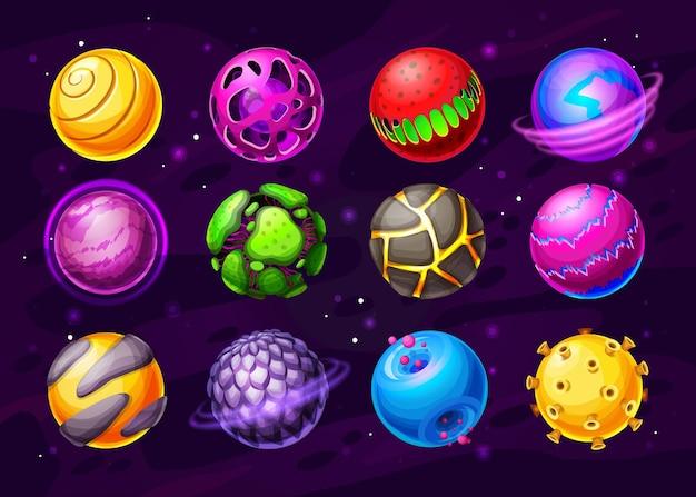 Buitenaardse levensplaneten, fantasie ruimtewerelden cartoon iconen