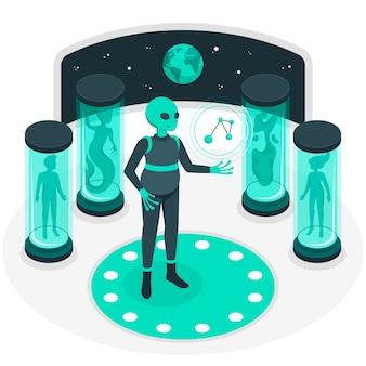 Buitenaardse wetenschap concept illustratie