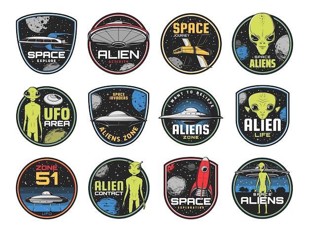 Buitenaardse zone, ufo-gebied en retro spaceshuttles.