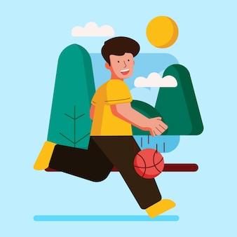 Buitenactiviteit met illustratie basketbal spelen