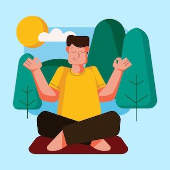 Buitenactiviteit met yoga-illustratie