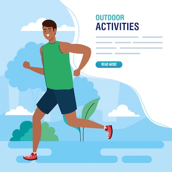 Buitenactiviteiten, man afro buiten hardlopen, sport recreatie oefening