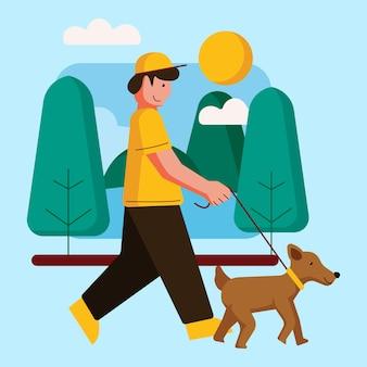 Buitenactiviteiten met illustratie van een wandeling in het park
