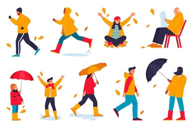 Buitenactiviteiten stripfiguren tijdens het herfstseizoen