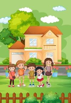Buitenhuisscène met veel kinderen