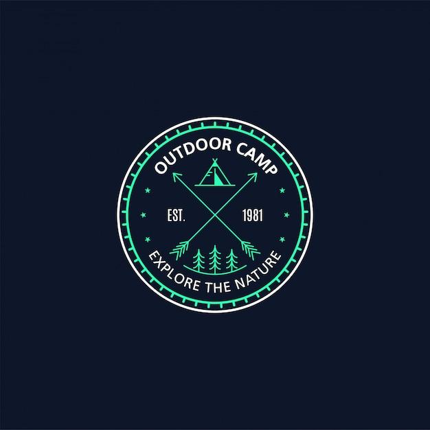 Vintage outdoor sticker, patch, pin badge design. met indian