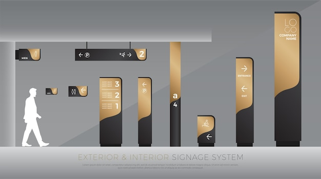 Buitenkant en interieur signage concept