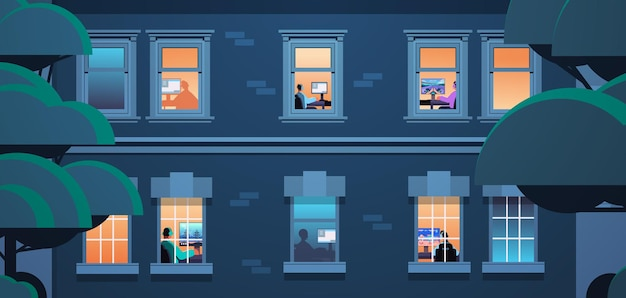 Buitenkant van gebouw met mix race buren virtuele gamers online videogames spelen op personal computers thuis portret horizontale vectorillustratie