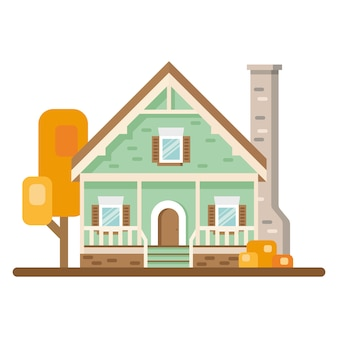 Buitenkant van het gekleurde huis. vector illustratie. huisje. gevel van het huis met bomen op witte achtergrond.