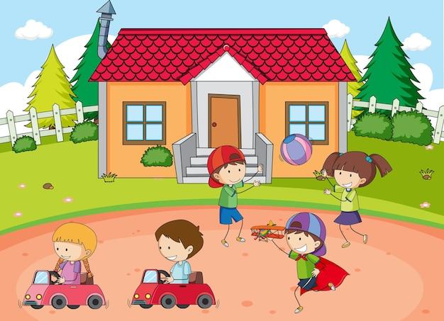 Buitenparkscène met veel kinderen