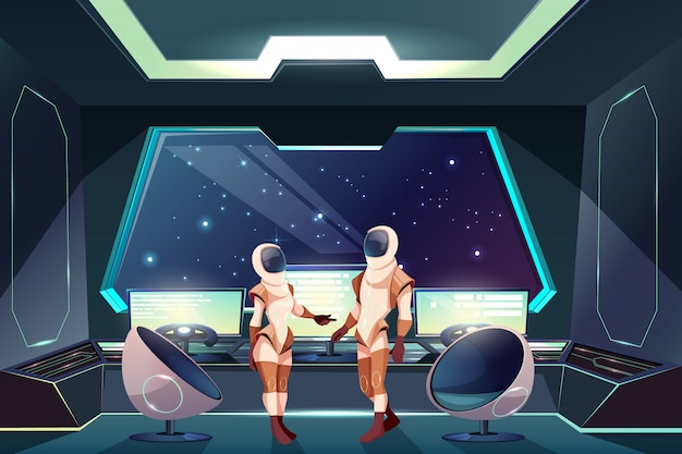 Buitenruimteontdekkingsreizigers of reizigersbeeldverhaalillustratie met vrouwelijke en mannelijke astronauten