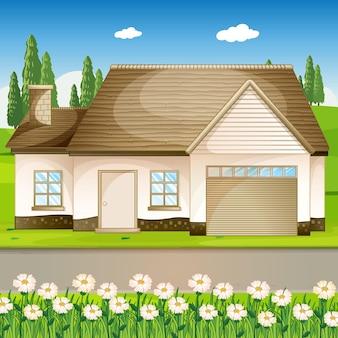 Buitenscène met een huis en een bloemenveld