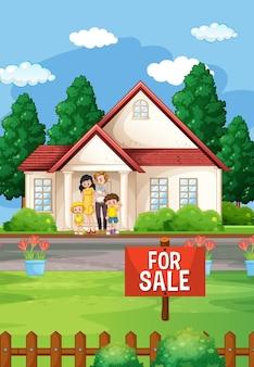Buitenscène met familie die voor een huis te koop staat