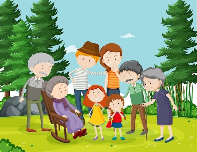 Buitenscène met familielid