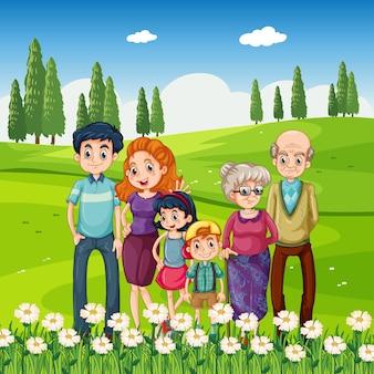 Buitenscène met gelukkige familie