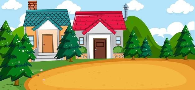 Buitenscène met twee huizen en lege speeltuin