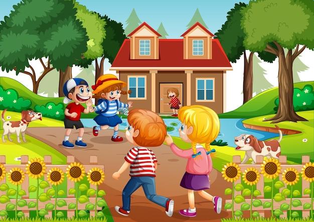 Buitenscène met veel kinderen die hun vrienden bezoeken