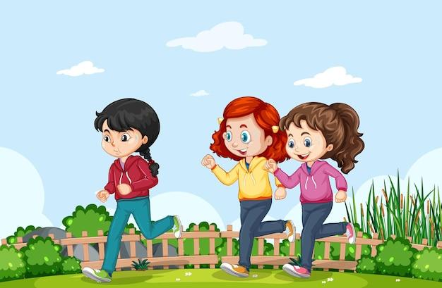 Buitenscène met veel kinderen die in het park joggen