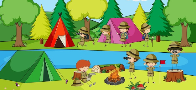 Buitenscène met veel kinderen die in het park kamperen