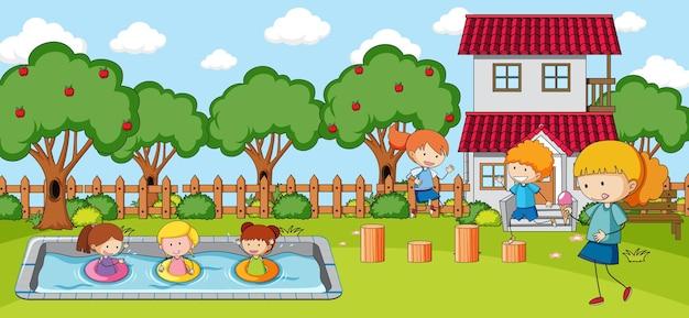 Buitenscène met veel kinderen die in het park spelen