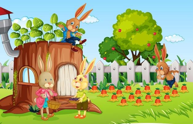 Buitenscène met veel konijnenstripfiguren in de tuin