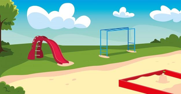 Buitenspeeltuin met spelletjes voor kinderen
