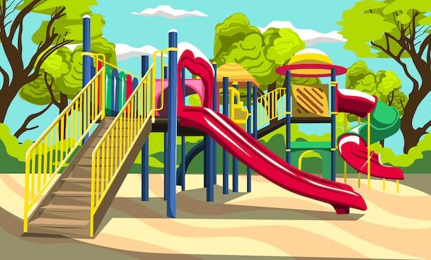 Buitenspeeltuin plezier voor kinderen familiepark met glijbanen en tunnels voor vector buitenontwerp