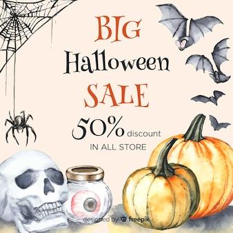Buitensporige grote halloween-verkoop in waterverf