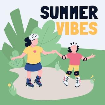 Buitensportactiviteiten sociale media plaatsen mockup. zomer vibes zin. web banner ontwerpsjabloon. kinderen openluchtplezier booster, inhoudslay-out met inscriptie.