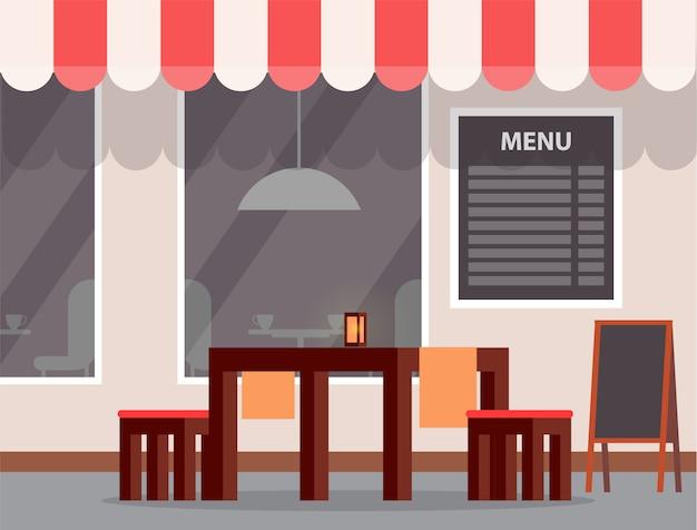 Buitentafel en -menu, café of cafetaria buitenkant
