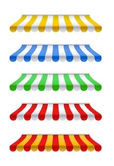 Buitenzonwering set rood, geel, groen, blauw en wit zonnescherm
