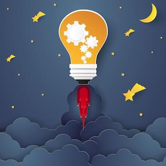 Bulb rocket vliegt 's nachts boven voor ideeconcept in papieren kunststijl