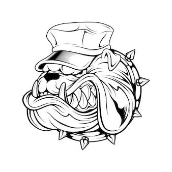 Buldog die de tekening van de hoedenhand draagt