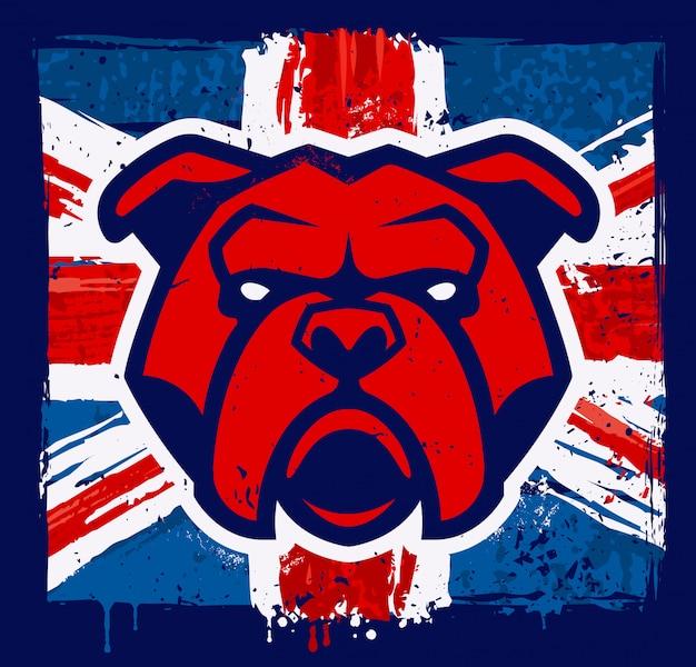 Buldogmascotte op britse vlag grunge