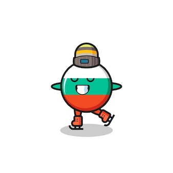 Bulgarije vlag badge cartoon als een schaatser die presteert, schattig stijlontwerp voor t-shirt, sticker, logo-element