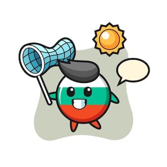 Bulgarije vlag badge mascotte illustratie is het vangen van vlinder, schattig stijl ontwerp voor t-shirt, sticker, logo-element