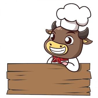 Bull chef-kok leunt een teken met ruimte om uw bericht neer te zetten.