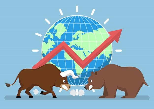 Bull en bear met wereld en grafiek