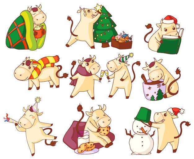 Bull jaar symbool. leuke kawai stier nieuwjaar karakter symboolpictogram ingesteld op witte achtergrond. chinees sterrenbeeld in feestelijke pet en kerstmuts vakantie activiteit illustratie